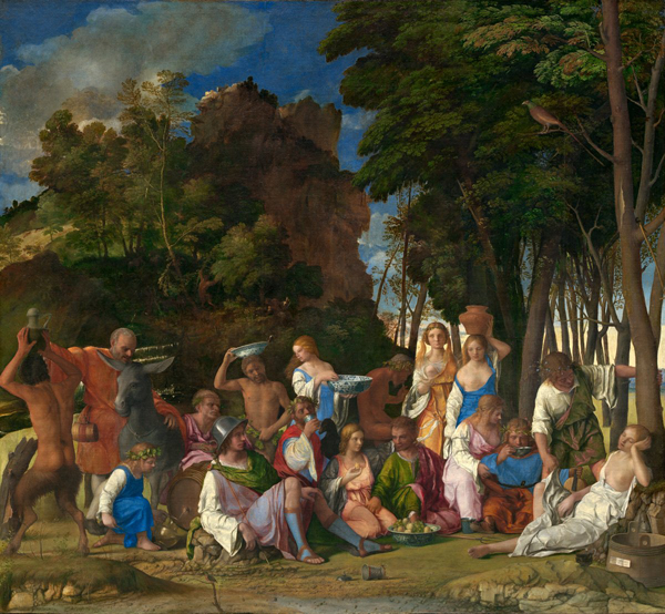 Giovanni Bellini and Titian<br /><i>The Feast of the Gods</i>, 1514/29<br />Oil on canvas, 170.2 x 188 cm (67 x 74 in.)<br />National Gallery of Art, Washington, DC, Widener Collection<br />Image courtesy of the Board of Trustees, National Gallery of Art