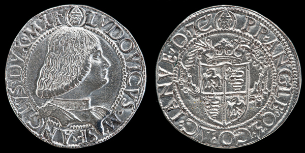 Milanese, late 15th century<br /><i>Ludovico Maria Sforza, called Il Moro (1451–1508), 7th Duke of Milan (1494–1500)</i> [obverse]; Crowned Shield [reverse]<br />Bronze, 2.6 x 2.1 cm (1 x 13/16 in.)<br />National Gallery of Art, Washington, DC, Samuel H. Kress Collection<br />Image courtesy of the Board of Trustees, National Gallery of Art