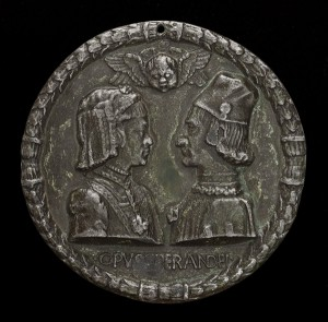 Sperandio<br /><i>Ercole d'Este (1431–1505), Duke of Ferrara, and Eleanora of Aragon (1450–1493), His Wife (1473)</i> [obverse], c. 1473<br />Lead alloy, diameter 11.29 cm (4 7/16 in.)<br />National Gallery of Art, Washington, DC, Samuel H. Kress Collection<br />Image courtesy of the Board of Trustees, National Gallery of Art