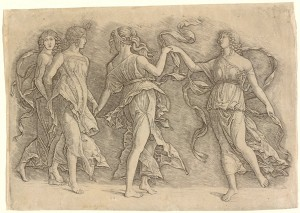 Workshop of Andrea Mantegna or Attributed to Zoan Andrea Four Women Dancing, c. 1497 Engraving, 24.3 x 35 cm (9 9/16 x 13 3/4 in.) National Gallery of Art, Washington, DC, Rosenwald Collection Image courtesy of the Board of Trustees, National Gallery of Art