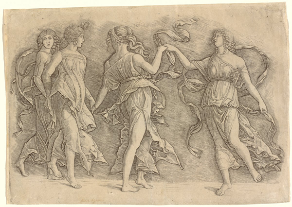 Workshop of Andrea Mantegna or Attributed to Zoan Andrea<br /><i>Four Women Dancing</i>, c. 1497<br />Engraving, 24.3 x 35 cm (9 9/16 x 13 3/4 in.)<br />National Gallery of Art, Washington, DC, Rosenwald Collection<br />Image courtesy of the Board of Trustees, National Gallery of Art
