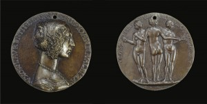 Attributed to Niccolò Fiorentino<br /><i>Medal of Giovanna degli Albizzi, Wife of Lorenzo Tornabuoni [obverse]; The Three Graces [reverse]</i>, c. 1486<br />Bronze, diameter 7.8 cm (3 1/16 in.)<br />National Gallery of Art, Washington, DC, Samuel H. Kress Collection<br />Image courtesy of the Board of Trustees, National Gallery of Art