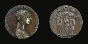 Attributed to Niccolò Fiorentino Medal of Giovanna degli Albizzi, Wife of Lorenzo Tornabuoni [obverse]; The Three Graces [reverse], c. 1486 Bronze, diameter 7.8 cm (3 1/16 in.) National Gallery of Art, Washington, DC, Samuel H. Kress Collection  Image courtesy of the Board of Trustees, National Gallery of Art