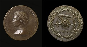 Matteo de' Pasti  Medal of Leon Battista Alberti (1404–72), Architect and Writer on Art and Science [obverse]; Winged Human Eye [reverse], 1446/50 Bronze, diameter 9.3 cm (3 11/16 in.) National Gallery of Art, Washington, DC, Samuel H. Kress Collection Image courtesy of the Board of Trustees, National Gallery of Art