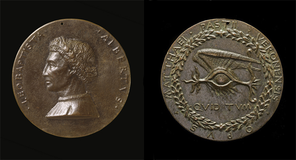 Matteo de' Pasti<br />Medal of Leon Battista Alberti (1404–72), Architect and Writer on Art and Science [obverse]; Winged Human Eye [reverse], 1446/50<br />Bronze, diameter 9.3 cm (3 11/16 in.)<br />National Gallery of Art, Washington, DC, Samuel H. Kress Collection<br />Image courtesy of the Board of Trustees, National Gallery of Art