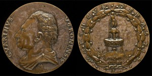 Matteo de' Pasti<br /><i>Medal of Guarino da Verona, (1374–1460), Humanist [obverse]; Fountain Surmounted by a Nude Male Figure [reverse]</i>, c. 1446<br />Bronze, diameter 9.4 cm (3 11/16 in.)<br />National Gallery of Art, Washington, DC, Samuel H. Kress Collection<br />Image courtesy of the Board of Trustees, National Gallery of Art
