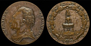Matteo de' Pasti  Medal of Guarino da Verona, (1374–1460), Humanist [obverse]; Fountain Surmounted by a Nude Male Figure [reverse], c. 1446 Bronze, diameter 9.4 cm (3 11/16 in.) National Gallery of Art, Washington, DC, Samuel H. Kress Collection  Image courtesy of the Board of Trustees, National Gallery of Art