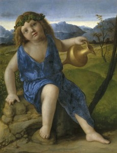 Giovanni Bellini<br /><i>The Infant Bacchus</i>, probably 1505/10<br />Oil on panel transferred to panel, 50.1 x 39 cm (19 11/16 x 15 3/8 in.)<br />National Gallery of Art, Washington, DC, Samuel H. Kress Collection<br />Image courtesy of the Board of Trustees, National Gallery of Art
