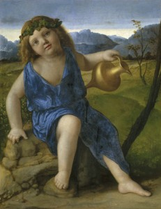Giovanni Bellini The Infant Bacchus, probably 1505/10 Oil on panel transferred to panel, 50.1 x 39 cm (19 11/16 x 15 3/8 in.) National Gallery of Art, Washington, DC, Samuel H. Kress Collection  Image courtesy of the Board of Trustees, National Gallery of Art