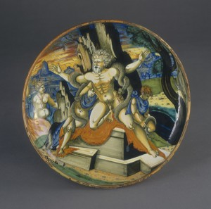 Attributed to Francesco Xanto Avelli<br />Bowl with <i>Laocoön</i>, 1539<br />Tin-glazed earthenware, diameter 27 cm (10 5/8 in.)<br />National Gallery of Art, Washington, DC, Widener Collection<br />Image courtesy of the Board of Trustees, National Gallery of Art