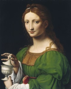 Bernardino Luini<br /><i>Portrait of a Woman as Mary Magdalen</i>, c. 1525<br />Oil on panel, 58.8 x 47.8 cm (23 1/8 x 18 13/16 in.)<br />National Gallery of Art, Washington, DC, Samuel H. Kress Collection<br />Image courtesy of the Board of Trustees, National Gallery of Art