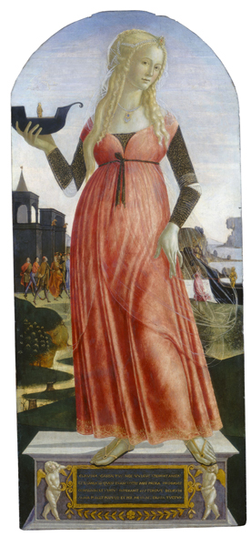 Neroccio de Landi<br /><i>Claudia Quinta</i>, c. 1490/95<br />Tempera on panel, 105 x 46 cm (41 5/16 x 18 1/8 in.)<br />National Gallery of Art, Washington, DC, Andrew W. Mellon Collection<br />Image courtesy of the Board of Trustees, National Gallery of Art