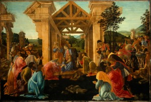 Sandro Botticelli<br /><i>The Adoration of the Magi</i>, c. 1478/82<br />Tempera and oil on panel, 70 x 104.2 cm (27 9/16 x 41 in.)<br />National Gallery of Art, Washington, DC, Andrew W. Mellon Collection<br />Image courtesy of the Board of Trustees, National Gallery of Art
