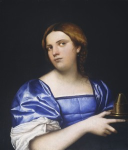 Sebastiano del Piombo<br /><i>Portrait of a Woman as the Wise Virgin</i>, c. 1510<br />Oil on hardboard transferred from panel, 54.7 x 47.5 cm (21 9/16 x 18 11/16 in.)<br />National Gallery of Art, Washington, DC, Samuel H. Kress Collection<br />Image courtesy of the Board of Trustees, National Gallery of Art
