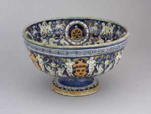 Bowl with arms and devices of Pope Leo X and families allied by marriage with the Medici, c. 1520–1<br />Earthenware, diameter 36.5 cm; h. 20.8 cm (14 2/5 in.; 8 1/5 in.)<br />British Museum, London<br />© Trustees of the British Museum