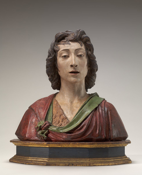 Benedetto da Maiano<br /><i>Saint John the Baptist</i>, c. 1480<br />Painted terra-cotta, 48.9 x 52 x 26 cm (19 1/4 x 20 1/2 x 10 1/4 in.)<br />National Gallery of Art, Washington, DC, Andrew W. Mellon Collection<br />Image courtesy of the Board of Trustees, National Gallery of Art