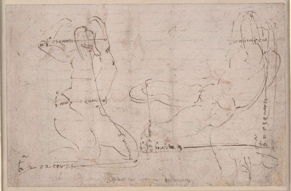 Michelangelo<br />Drawings for a recumbent statue, c. 1525<br />Pen and ink, 13.7 x 20.9 cm (5 3/8 x 8 1/4 in.)<br />British Museum, London<br />© Trustees of the British Museum