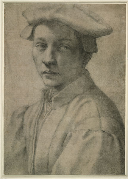 Michelangelo<br /><i>Portrait of Andrea Quaratesi</i>, 1532<br />Black chalk, partly stippled, 41.1 x 29.2 cm (16 3/16 x 11 1/2 in.)<br />British Museum, London<br />© Trustees of the British Museum
