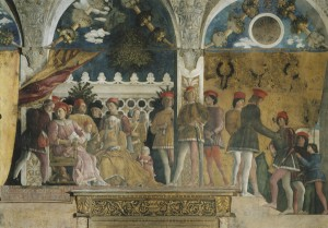 Andrea Mantegna<br /><i>The Court of the Gonzaga family</i>, 1465–75<br />Fresco<br />Camera Picta, Palazzo Ducale, Mantua<br />Scala/Art Resource, NY