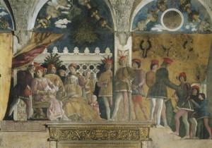 Andrea Mantegna The Court of the Gonzaga family, 1465–75 Fresco Camera Picta, Palazzo Ducale, Mantua Scala/Art Resource, NY