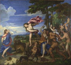 Titian<br /><i>Bacchus and Ariadne</i>, 1520–3<br />Oil on canvas, 176.5 x 191 cm (69.5 x 75.2 in.)<br />The National Gallery, London<br />© National Gallery, London/Art Resource, NY
