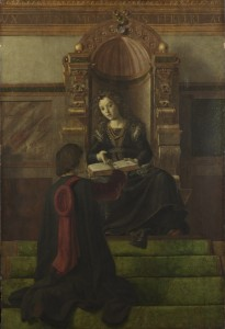 Joos (Justus) van Ghent (and workshop) Rhetoric, probably 1470s  Oil on poplar, 157.2 x 105.2 cm (61.9 x 41.4 in.) The National Gallery, London © National Gallery, London/Art Resource, NY
