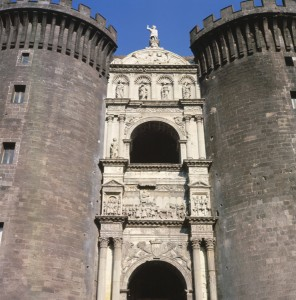 Triumphal arch of Alfonso of Aragon, 1453–8 and 1465–7<br />Marble<br />Castel Nuovo, Naples<br />Bridgeman-Giraudon/Art Resource, NY