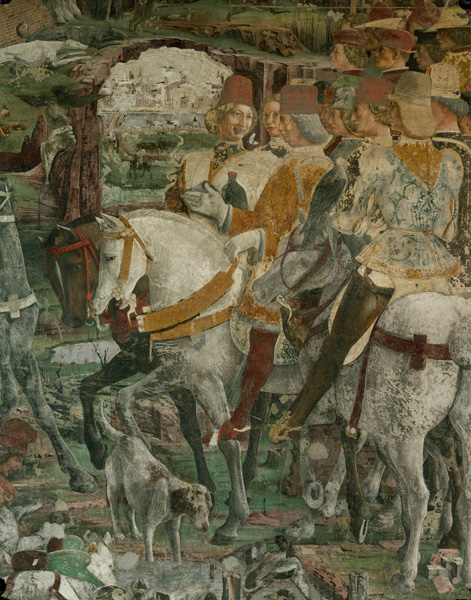Francesco del Cossa<br /><i>Borso d'Este and his Retinue set out Hawking</i>, 1476<br />Detail from the March fresco in the Hall of the Months<br />Palazzo Schifanoia, Ferrara<br />Erich Lessing/Art Resource, NY