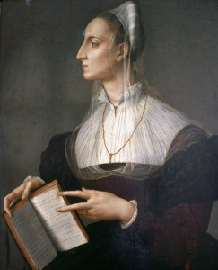 Agnolo Bronzino<br /><i>Portrait of Laura Battiferri</i>, 1555–60<br />Oil on panel, 83 x 60 cm (32 7/10 x 23 3/5 in.)<br />Palazzo Vecchio, Florence, Loesser Collection<br />Daniela Cammilli/Alinari/Art Resource, NY