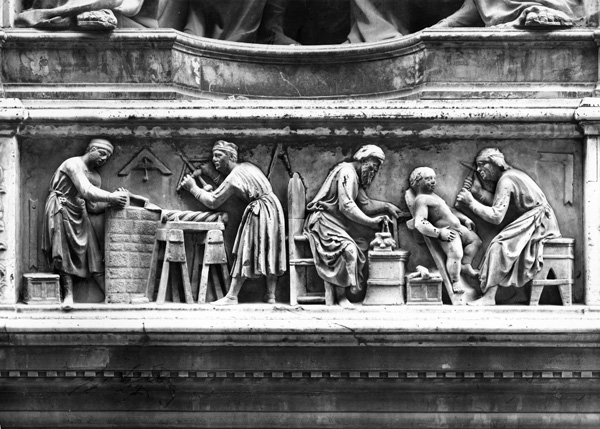 Nanni di Banco<br />The monument to the <i>Four Crowned Martyrs (Quattro Santi Coronati)</i>, detail of the relief, 1415<br />Marble<br />Orsanmichele, Florence<br />Alinari/Art Resource, NY