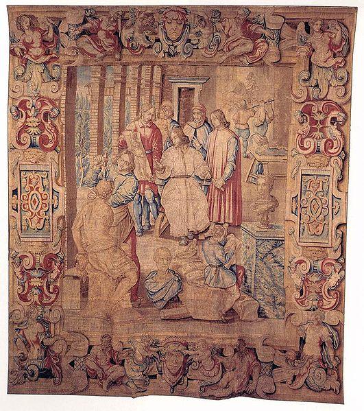 Designed by Johannes Stradanus<br /><i>Lorenzo de' Medici in the Sculpture Garden</i>, 1571<br />Tapestry, 425 x 455 cm (167 5/16 x 179 1/8 in.)<br />Museo Nazionnale di San Marco, Pisa<br />Soprintendenza alle Gallerie, Florence