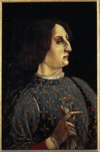 Antonio del Pollaiuolo and Piero Pollaiuolo Portrait of Galeazzo Maria Sforza, c. 1471         Tempera on wood, 65 x 43 cm (25 3/5 x 16 9/10 in.) Uffizi, Florence  Scala/Ministero per i Beni e le Attività Culturali/Art Resource, NY