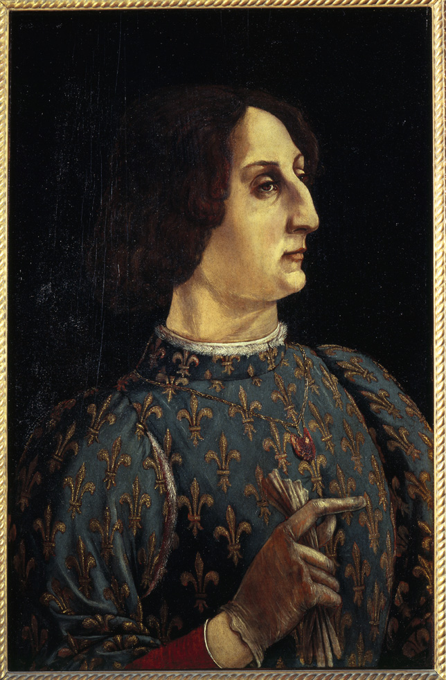 Antonio del Pollaiuolo and Piero Pollaiuolo<br /><i>Portrait of Galeazzo Maria Sforza</i>, c. 1471<br />Tempera on wood, 65 x 43 cm (25 3/5 x 16 9/10 in.)<br />Uffizi, Florence<br />Scala/Ministero per i Beni e le Attività Culturali/Art Resource, NY