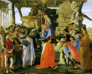 Sandro Botticelli Adoration of the Magi, c. 1473 Tempera on panel, 111 x 134 cm (43 7/10 x 52 4/5 in.) Uffizi, Florence  Alfredo Dagli Orti/The Art Archive at Art Resource, NY