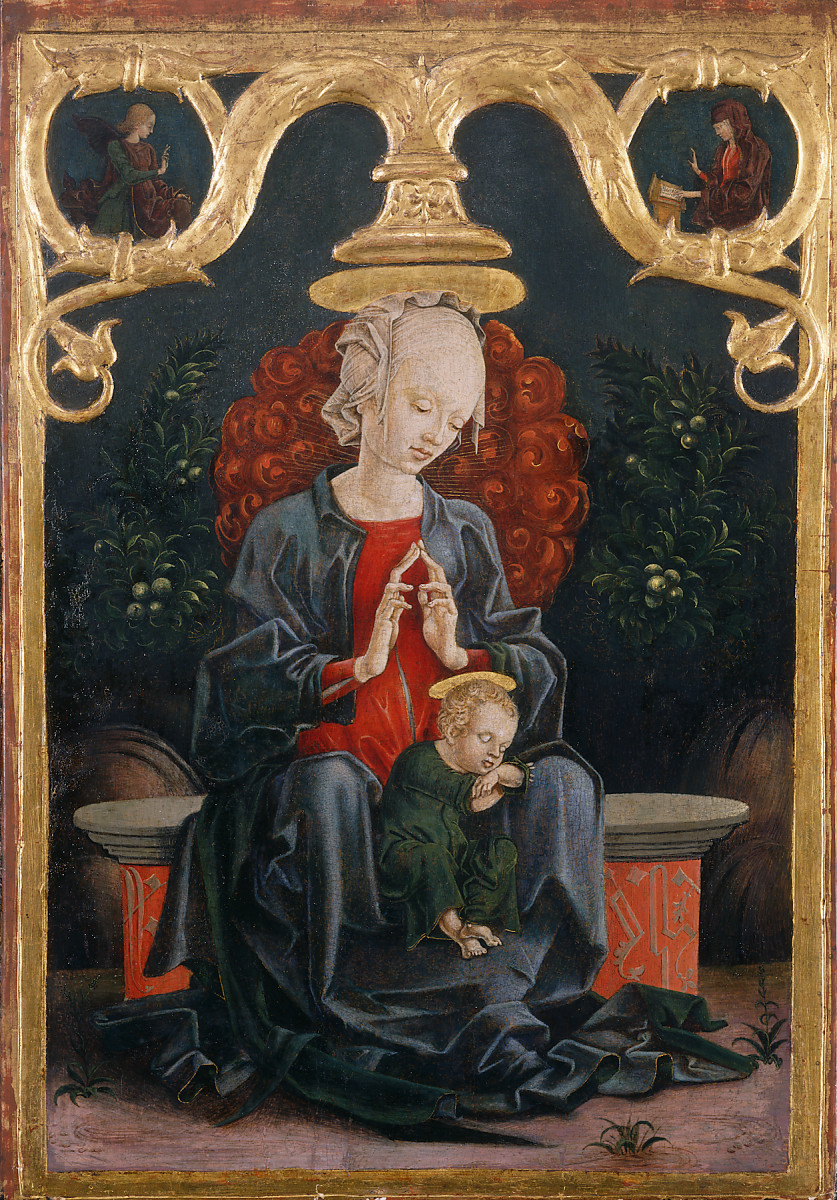 Cosmè Tura<br /><i>Madonna and Child in a Garden</i>, c. 1460/70<br />Tempera and oil on panel, 53.4 x 37.2 cm (21 x 14 5/8 in.)<br />National Gallery of Art, Washington, DC, Samuel H. Kress Collection<br />Image courtesy of the Board of Trustees, National Gallery of Art