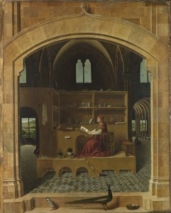 Antonello da Messina Saint Jerome in his Study, about 1475  Oil on lime, 45.7 x 36.2 cm (18 x 14 3/10 in.)  The National Gallery, London © National Gallery, London/Art Resource, NY