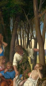 Giovanni Bellini and Titian<br /><i>The Feast of the Gods</i> (detail of Bellini's tree trunks), 1514/29<br />Oil on canvas<br />National Gallery of Art, Washington, DC, Widener Collection<br />Image courtesy of the Board of Trustees, National Gallery of Art