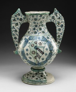 Italian, 15th century<br />Vase, c. 1470<br />Tin-glazed earthenware, 38.7 x 28.3 x 21 cm (15 1/5 x 11 1/10 x 8 3/10 in.)<br />Detroit Institute of Arts, USA, Gift of the Women's Committee with additional funds from Robert H. Tannahill<br />The Bridgeman Art Library