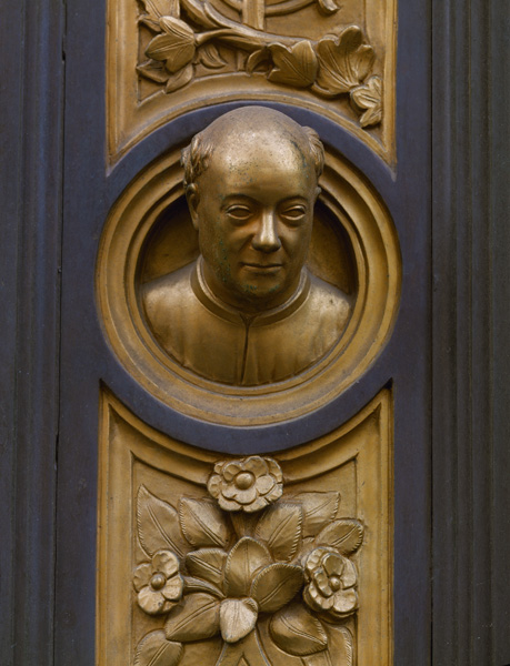 Lorenzo Ghiberti<br /><i>Self-portrait</i>, detail from the east Baptistery doors (<i>The Gates of Paradise</i>), 1424–52<br />Bronze, diameter approx. 5.8 cm (2 3/10 in.)<br />Baptistry of San Giovanni, Florence<br />Erich Lessing/Art Resource, NY