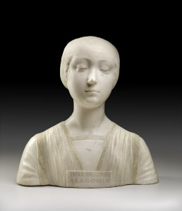 Francesco Laurana<br /><i>Beatrice of Aragon</i>, 1471–4<br />Marble, 40.6 x 40.3 x 20.3 cm (16 x 15 7/8 x 8 in.)<br />© The Frick Collection, New York, Bequest of John D. Rockefeller, Jr.