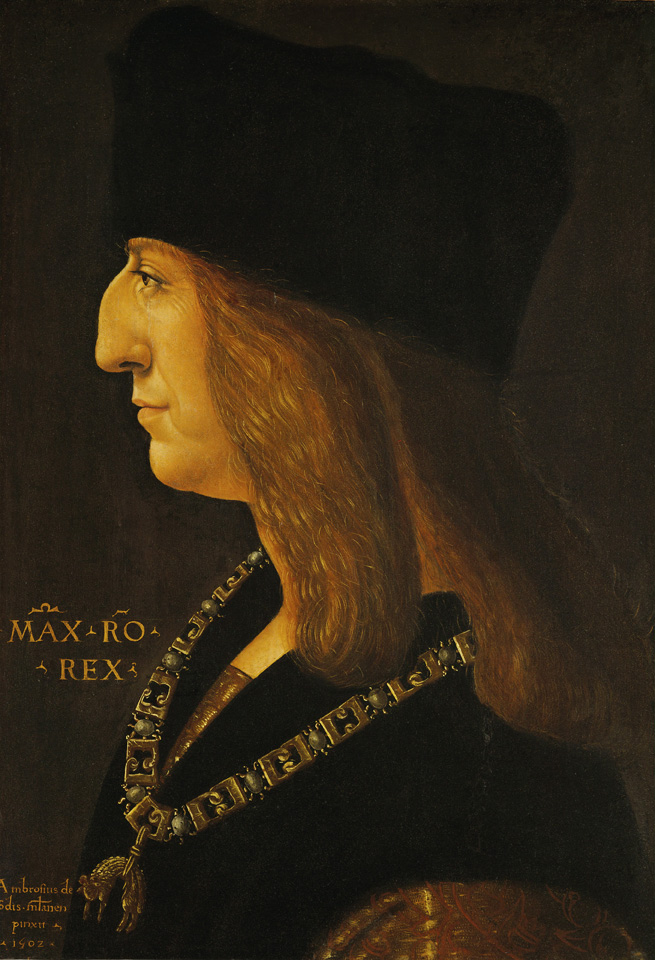 Ambrogio de Predis<br /><i>Maximilian I, Holy Roman Emperor (1459–1519)</i>, 1502<br />Oil on oak panel, 44 x 30 cm (17 5/16 x 11 13/16 in.)<br />Kunsthistorisches Museum, Vienna<br />Erich Lessing/Art Resource NY