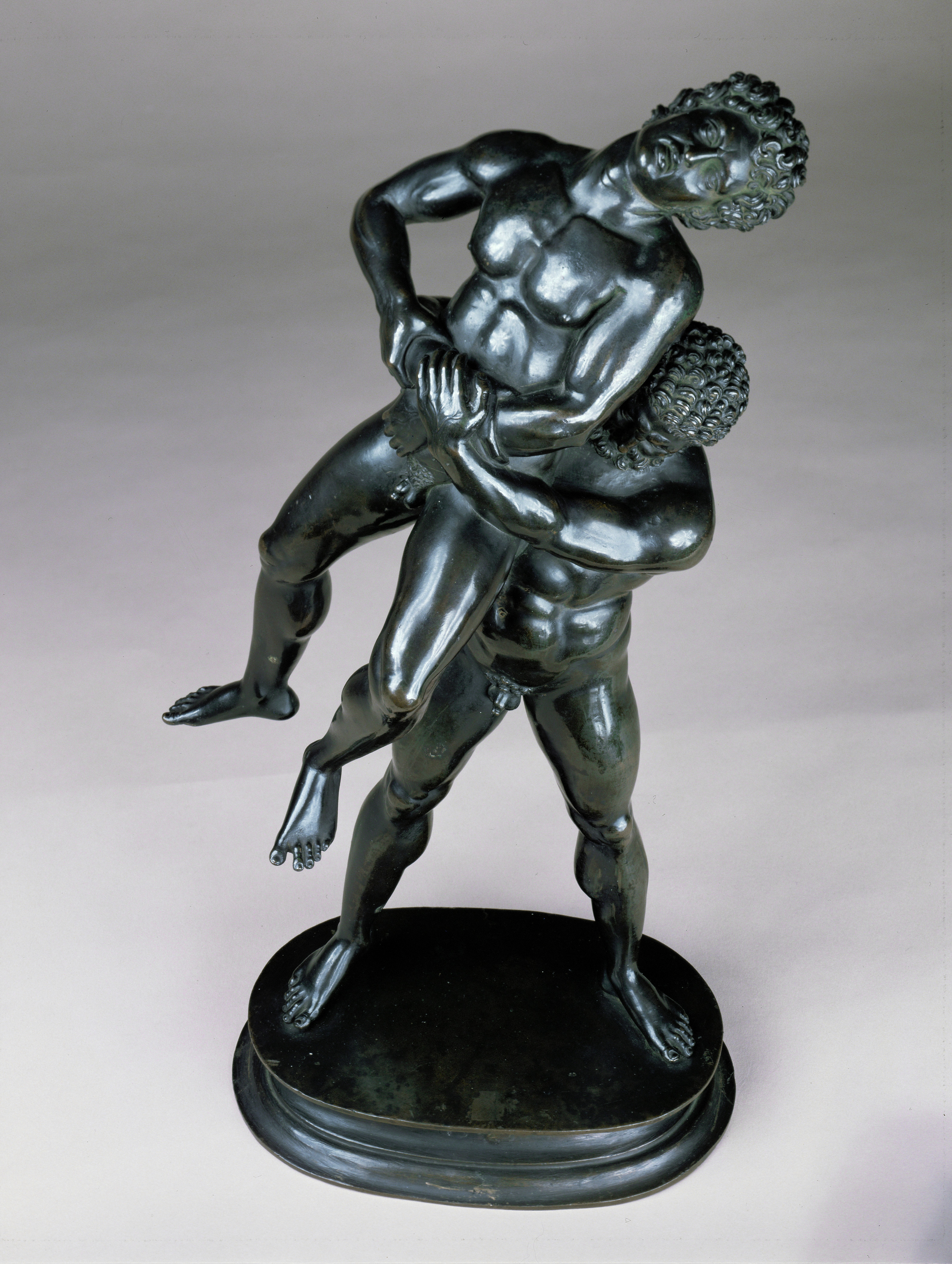 Antico<br /><i>Hercules and Antaeus</i>, 1519<br />Bronze, h. with base 39.6 cm (15 5/8 in.)<br />Kunsthistorisches Museum, Vienna, Kunstkammer<br />Erich Lessing/Art Resource, NY