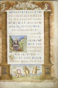 Copied by Bartolomeo Sanvito<br />Page from a manuscript of Eusebius' <i>Chronica</i>, fol. 2r, c. 1485–8<br />Parchment<br />The British Library, London<br />© The British Library Board