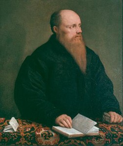 Jacopo Bassano<br /><i>Portrait of a Man of Letters</i>, c. 1540<br />Oil on canvas, 76.2 x 65.4 cm (30 x 25 7/10 in.)<br />Brooks Memorial Art Gallery, Memphis, Gift of the Samuel H. Kress Collection