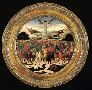 Giovanni di ser Giovanni Guidi<br /><i>Childbirth tray of Lorenzo de' Medici with The Triumph of Fame</i>, c. 1448<br />Tempera, silver, and gold on wood, diameter 92.7 cm (36 1/2 in.)<br />The Metropolitan Museum of Art, New York<br />Image © The Metropolitan Museum of Art, New York, NY