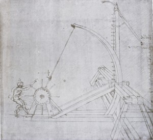"Leonardo da Vinci Design for a catapult, from the ""Codex Atlanticus,"" fol. 51 recto, c. 1487–90 Drawing, 20.3 x 27.5 cm (8 x 10 7/8 in.) Biblioteca Ambrosiana, Milan Art Resource, NY"