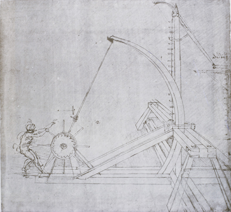 "<br /> Leonardo da Vinci<br /><i>Design for a catapult</>, from the ""Codex Atlanticus,"" fol. 51 recto, c. 1487–90<br />Drawing, 20.3 x 27.5 cm (8 x 10 7/8 in.)<br />Biblioteca Ambrosiana, Milan<br />Art Resource, NY</i>"