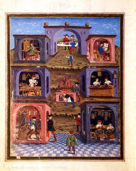 "<i>Artisans in their workshops</i>, c. 1470<br />From the manuscript ""De Sphaera,"" fol. 12 recto<br />Illumination on vellum<br />Biblioteca Estense, Modena<br />Alfredo Dagli Orti/Art Resource, NY"