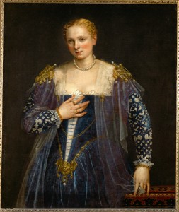 "Paolo Veronese<br /><i>Portrait of a Woman, called ""La bella Nani,""</i> c. 1560<br />Oil on canvas, 119 x 103 cm (46 9/10 x 40 3/5 in.)<br />Musée du Louvre, Paris<br />Erich Lessing/Art Resource, NY"