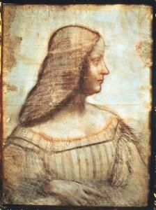 Leonardo da Vinci Portrait of Isabella d'Este, 1519 Red, black, ocher, and white chalk drawing, 46.5 x 61 cm (18 1/2 x 24 in.) Musée du Louvre, Paris Scala / Art Resource, NY